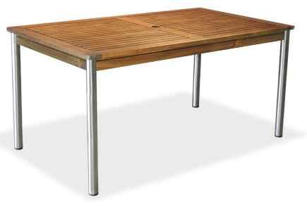 Stůl Cesena 150/85, nerezová ocel/ akát