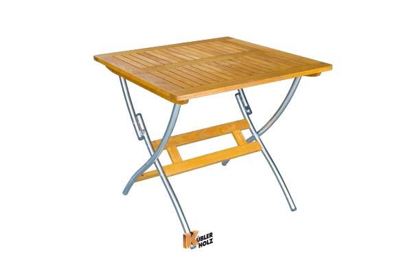 Stůl Savona I 80x80 cm, nerezová ocel / akát