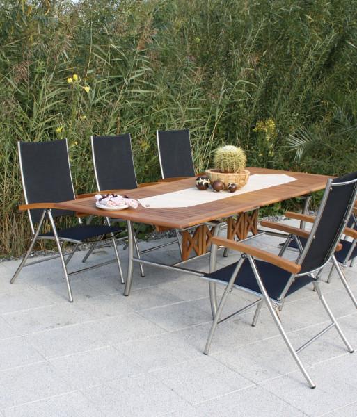 Salerno - sestava textilního akátového zahradního nábytku - černá